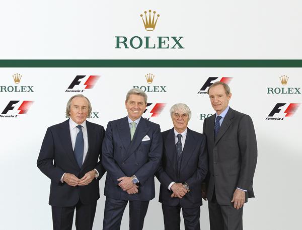 Jackie Stewart, testimonial Rolex; Gian Riccardo Marini, CEO di Rolex SA; Bernie Ecclestone, CEO del gruppo Formula 1; Jean-Claude Killy, Testimonial di Rolex e membro del Board of Directors di Rolex SA (da sinistra a destra) © Rolex / Eddy Mottaz