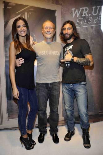 Carlo Freddi con Giorgia Palmas e Vittorio Brumotti alla presentazione di Wr.up denim
