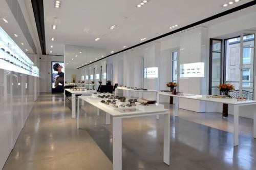 Lo showroom Safilo di Via Manzoni 38 a Milano