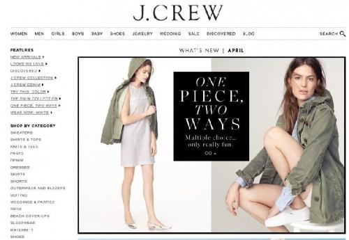 Il sito web di J.Crew