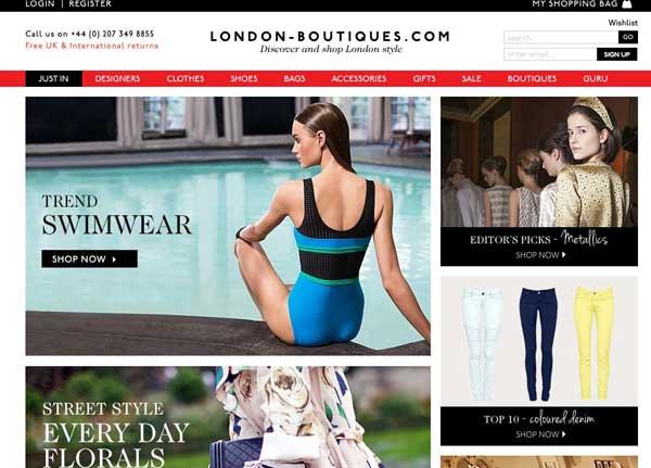 L'home page di London-Boutiques.com
