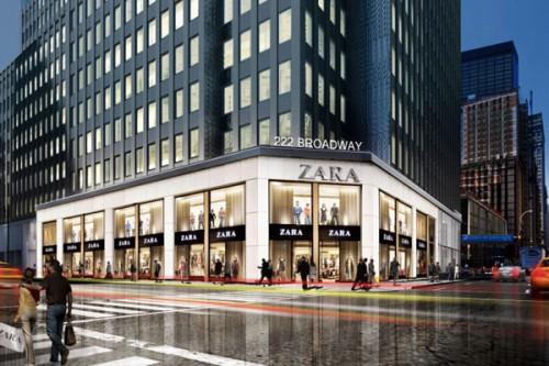 Rendering del nuovo store Zara che aprirà nel distretto finanziario di Manhattan (Fulton Transit Center)
