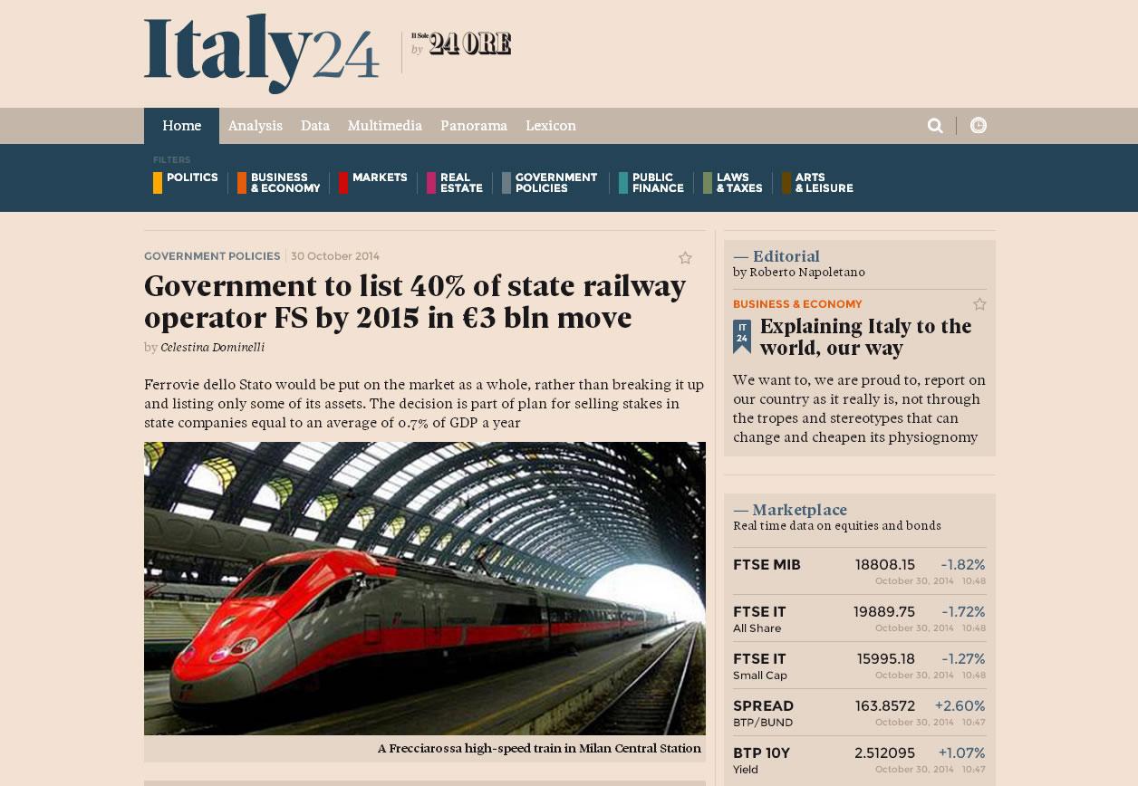 Screenshot di Italy24, il nuovo quotidiano digitale de Il Sole 24 Ore