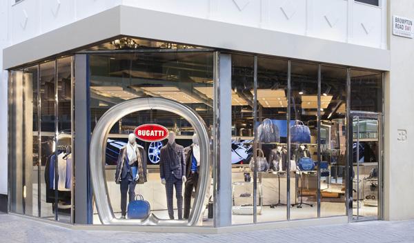 Un'immagine del nuovo store di Bugatti a Londra
