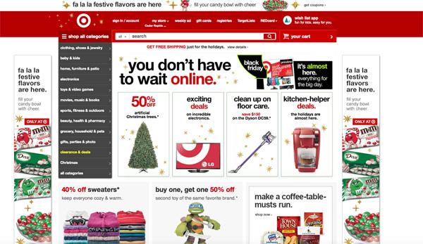 Il sito di Target questa mattina, già pronto per il Black Friday