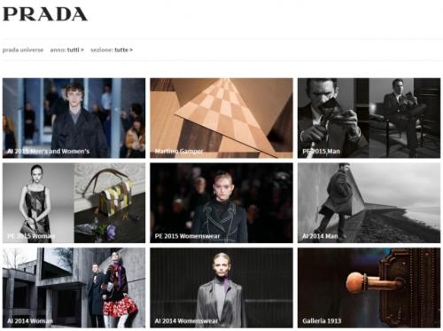Schermata dell'archivio Prada on line.