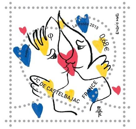 Uno dei francobolli disegnati da Jean-Charles de Castelbajac.