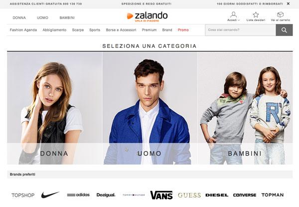La home page di Zalando
