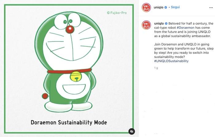 Doraemon testimonial verde per Uniqlo