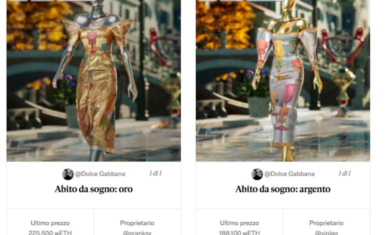 Dolce & Gabbana vende Nft per 5 milioni $
